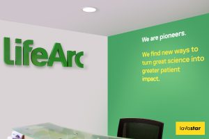 printed wallpaper and 3d wall lettering for the interior of an office in London