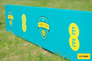 Printed Corex Toblerone Soccer Advertising Signs - Perfect for Pitch Side