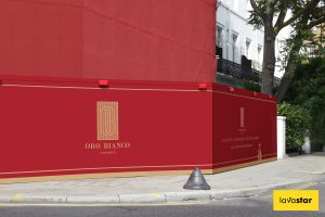 creative two colour hoarding design in central london