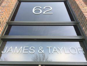 Office glass aluminium lettering