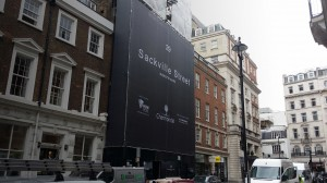 Building wrap and hoarding in Mayfair