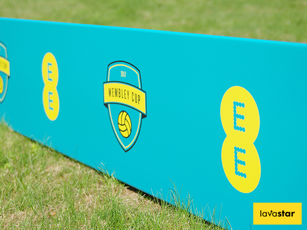 Printed toblerone advertising boards perfect for indoor or outdoor football match advertising