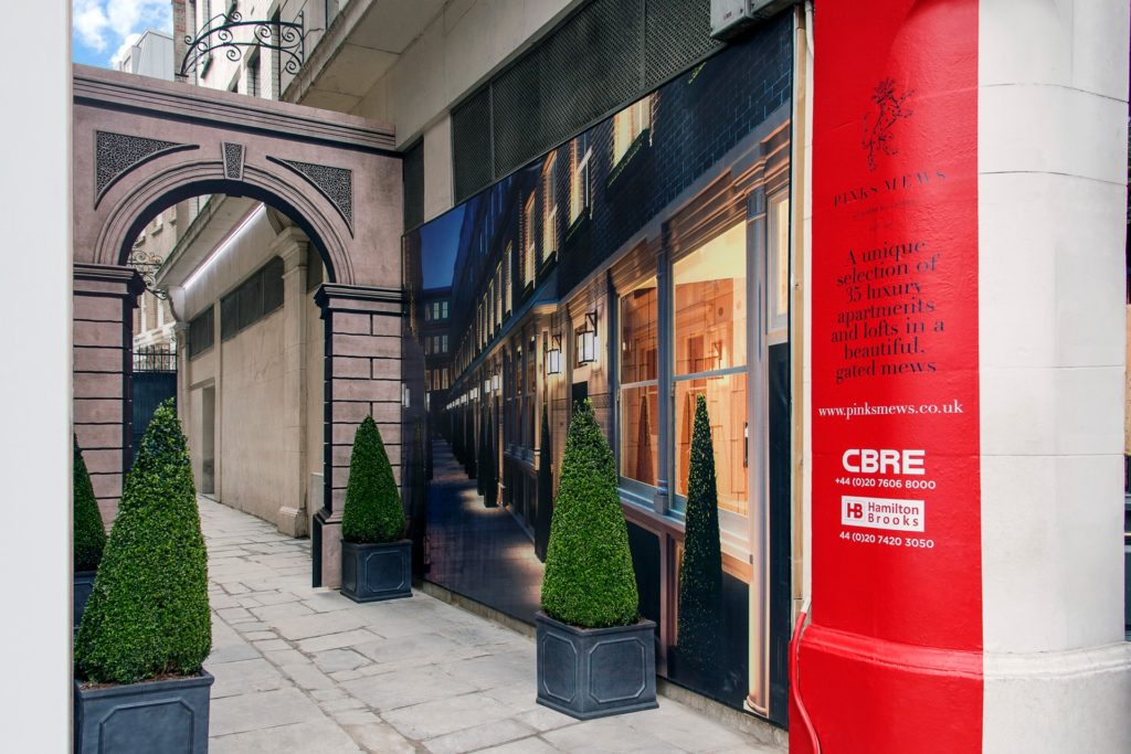 Bespoke development signage for a unique mews in London