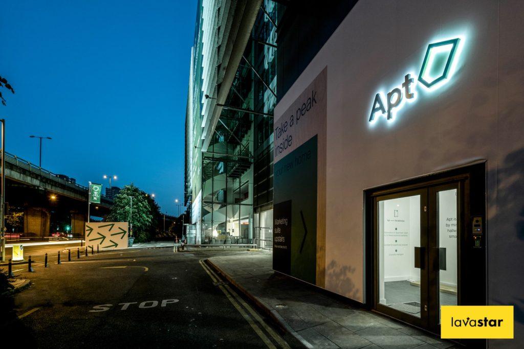 illuminated development hoarding design