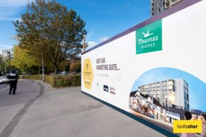 full colour printed dibond hoarding at a site
