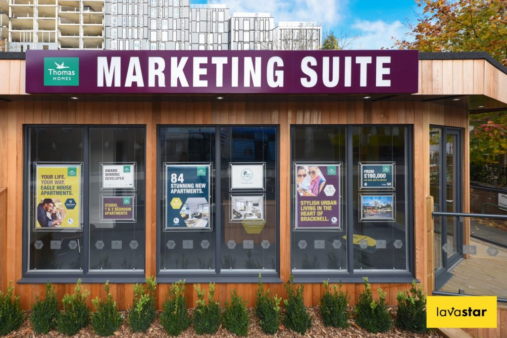 bespoke signage for a sales and marketing suite pod
